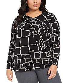 Plus Size Printed Draped-Front Top, Created For Macy's
