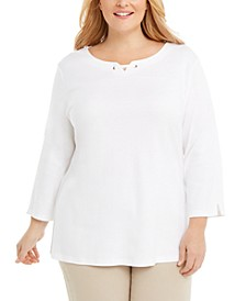 Plus Size Cotton Split-Neck Grommet Top, Created for Macy's
