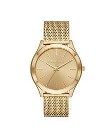 Men's Slim Runway Gold-Tone Stainless Steel Mesh Bracelet Watch 44mm MK8625