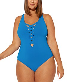 Plus Size Basket Case Strappy One-Piece Swimsuit