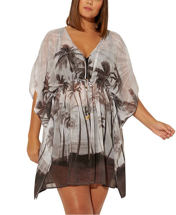 Bleu by Rod Beattie Plus Size South of Seas Paradise Printed Caftan Cover-Up