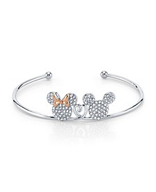 Mickey And Minnie Mouse Crystal Cuff In Rose Gold Two-Tone Plated Silver for Unwritten