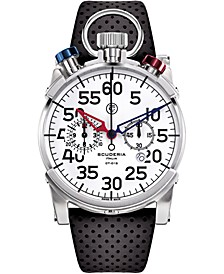 Men's Swiss Chronograph Corsa Black Perforated Leather Strap Watch 44mm