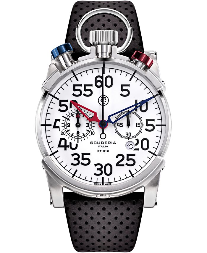 CT Scuderia - Men's Swiss Chronograph Corsa Black Perforated Leather Strap Watch 44mm