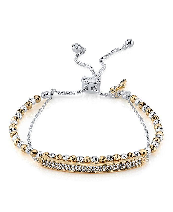 Unwritten - Double Strand Crystal Bar & Cross Bolo Bracelet
