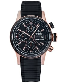 Men's Admiral Chronograph Black Silicone Performance Timepiece Watch 45mm