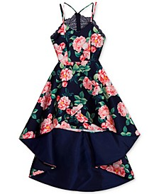 Big Girls Floral-Print Lace-Back High-Low Dress