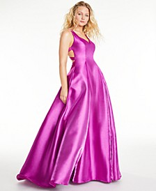 Juniors' Shine Cage-Back Ball Gown