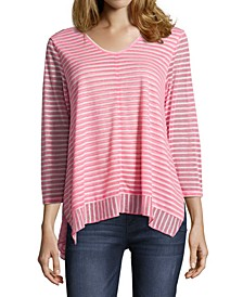Striped Asymmetrical Hem Top