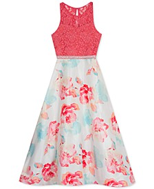 Big Girls Glitter Lace & Floral-Print Dress