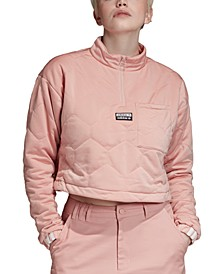 Women's Quilted Half-Zip Cropped Sweatshirt
