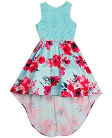 Big Girls Lace-Bodice Floral-Skirt High-Low Dress