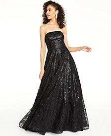 Juniors' Strapless Sequined Gown, Created For Macy's