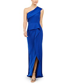 One-Shoulder Peplum Gown