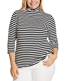 Plus Size Striped Mock-Neck Top