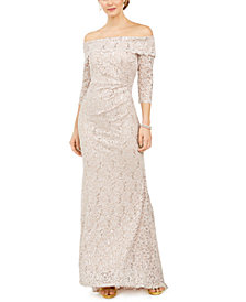 Vince Camuto Glitter Off-The-Shoulder Gown