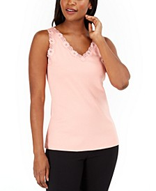 Petite Cotton Lace-Trim Tank Top, Created for Macy's
