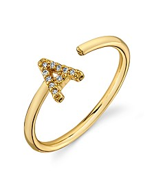 Cubic Zirconia Initial Gold-Tone Fine Plated Silver Delicate Adjustable Ring