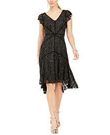 Petite Ruffle Sleeve Lace Dress