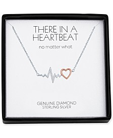 "Diamond Accent Heartbeat 18"" Pendant Necklace in Sterling Silver & 14k Rose Gold-Plate"