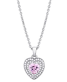 Pink Cubic Zirconia Heart Pendant Necklace in Fine Silver Plate