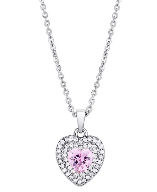 Macy's Pink Cubic Zirconia Heart Pendant Necklace in Fine Silver Plate