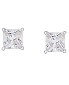 Cubic Zirconia Square Stud Earrings in Fine Silver Plate, 4 ct. t.w.