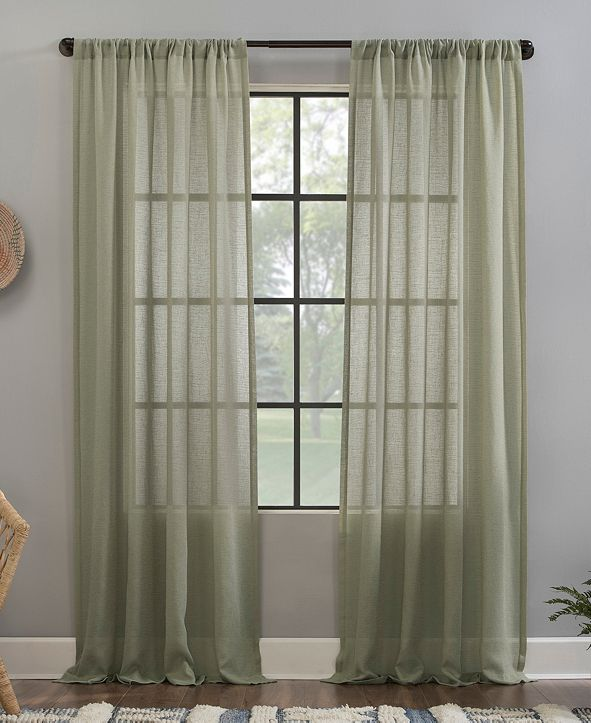 "Clean Window Crushed Texture 52"" x 63"" Anti-Dust Sheer Curtain Panel"