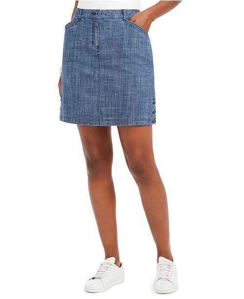 Karen Scott Button-Trim Denim Skort, Created For Macy's