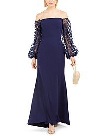Off-The-Shoulder Mesh-Sleeve Gown
