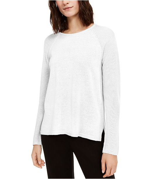 Eileen Fisher Linen & Cotton Raglan Sweater, Created for Macy's