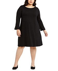 Plus Size Round-Neck Bell-Sleeve Dress