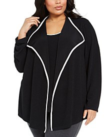 Plus Size Piping Layered-Look Top