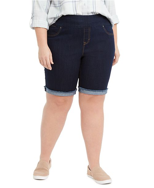 Style & Co Plus Size Ella Denim Cuffed Shorts, Created for Macy's