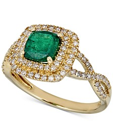 Emerald (1 ct. t.w.) & Diamond (1/3 ct. t.w.) Statement Ring in 14k Gold