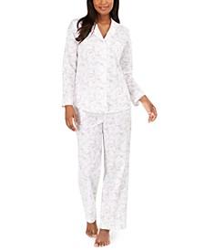 Cotton Lace Trim Floral-Print Pajamas Set