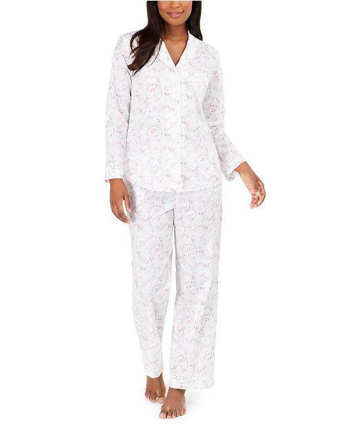 Miss Elaine Cotton Lace Trim Floral-Print Pajamas Set