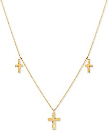 "Triple Cross Charm 17"" Pendant Necklace in 10k Gold"