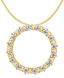 "Diamond Circle 18"" Pendant Necklace (1/4 ct. t.w.) in 14k Gold"