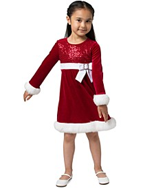 Little Girls Faux-Fur-Trim Sequined Santa Dress
