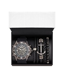 Men's Shiny Black Analog Quartz Watch And Stackable Gift Set