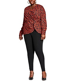 Trendy Plus Size Leopard-Print Twist-Front Blouse