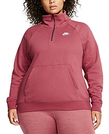 Plus Size Sportswear Essential 1/4-Zip Fleece Top