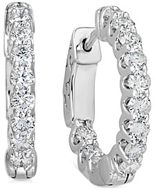 """Certified Diamond Small Graduated In & Out Hoop Earrings (1-1/5 ct. t.w.) in 14k White Gold, 0.75"""""""