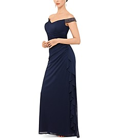 Petite Off-The-Shoulder Ruched Gown