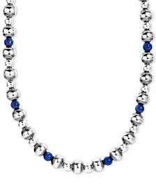 """Lapis Lazuli & Polished Bead Statement Necklace in Sterling Silver, 15"""" + 2"""" extender"""