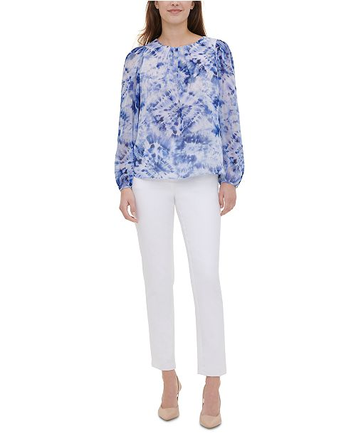 Calvin Klein Floral-Print Blouson Top