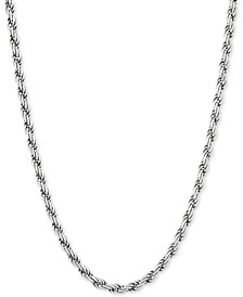 """Rope Link 22"""" Chain Necklace in Sterling Silver"""