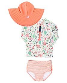 Toddler Girls Long Sleeve Rash Guard Bikini with Zipper Swim Hat Set, 2 Piece