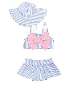 Baby Girls Skirted Bikini Swimsuit with Bow Swim Hat Set, 2 Piece